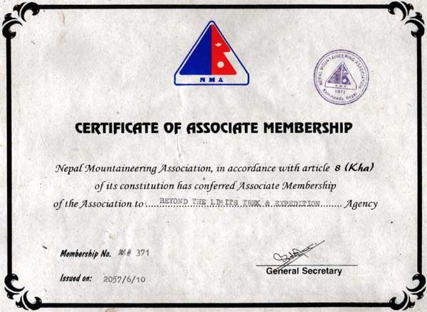 Nepal Mountaineering Association Associate Membership certification